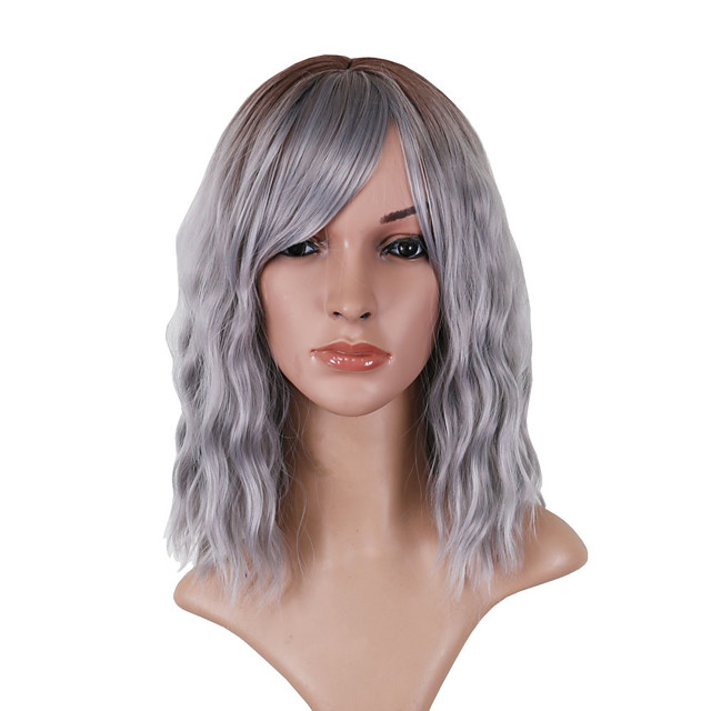 Synthetic Wig Loose Curl Asymmetrical With Bangs Wig Medium Length Grey Synthetic Hair 14 inch Women's Comfortable Exquisite Fluffy Dark Gray