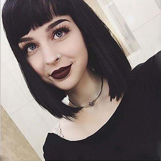 Synthetic Wig Straight Neat Bang With Bangs Wig Short Black Synthetic Hair 14 inch Women's Cute Classic Exquisite Black