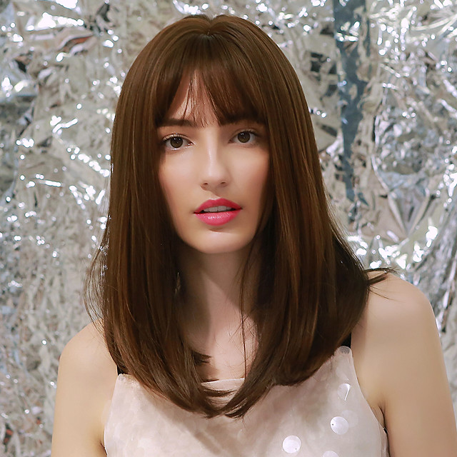 Cosplay Costume Wig Synthetic Wig Natural Wave Natural Straight Side Part Neat Bang With Bangs Wig Medium Length Brown Synthetic Hair 18 inch Women's Cosplay Party African American Wig Light Brown
