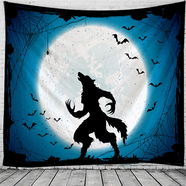 Halloween Wall Tapestry Art Decor Blanket Curtain Picnic Tablecloth Hanging Home Bedroom Living Room Dorm Decoration Psychedelic Wolf Bat Witch Haunted Scary Polyester