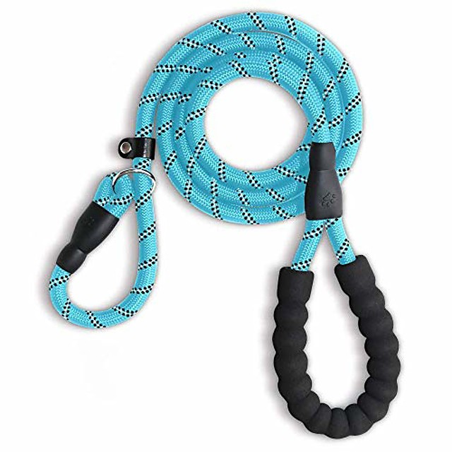 5 ft reinforce dog leash,comfortable padded handle pet leash for small medium large dogs heavy duty dog leashes (blue)