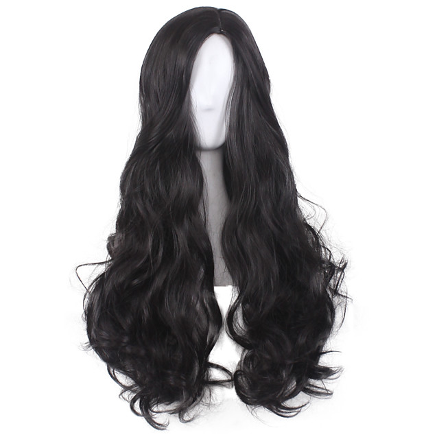 Synthetic Wig Curly Body Wave Pixie Cut Wig Long Black Synthetic Hair 30 inch Women's Soft Party Comfortable Black