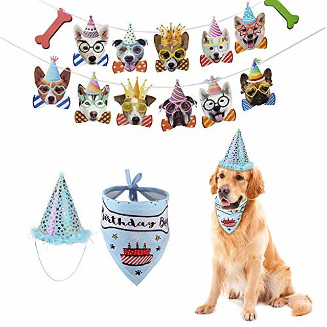 boy dog birthday party supplies, cone hat with bandana scarfs and banner garland set, cute puppy b-day outfit, doggie barkday pawty decorations (blue)