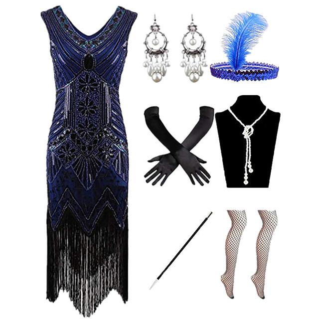 Čarlston Vintage 1920s Gatsby haljina za odmor Haljina s flapperom Setovi dodataka za kostime Žene Kostim Crveno / crno / Zlatni + crna / Obala Vintage Cosplay / Rukavice / Šeširi / 1 Ogrlica