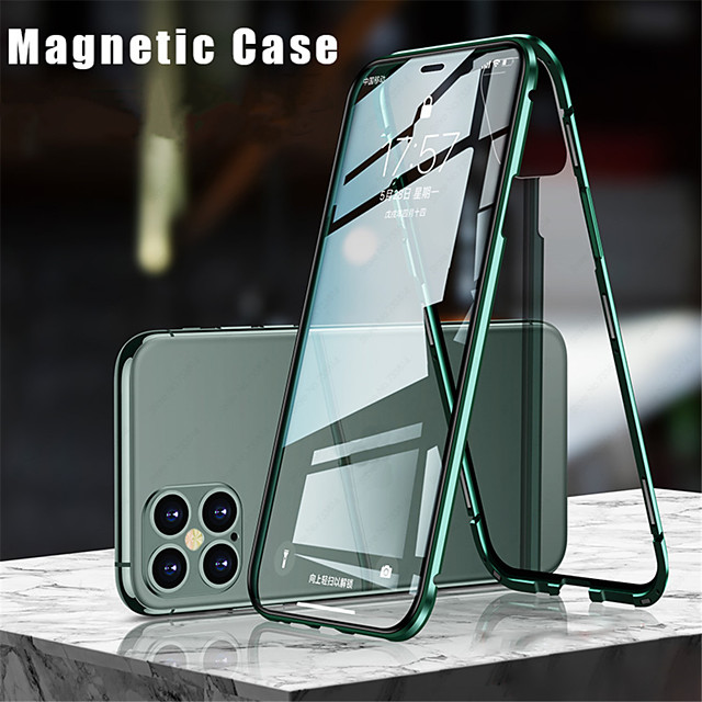 Case For Apple iPhone 12 / iPhone 12 Mini / iPhone 12 Pro Max Flip / Magnetic Full Body Cases Solid Colored Tempered Glass / Metal