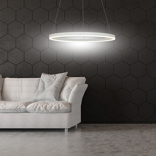 1-Light 60cm LED Pendant Light Aluminum Circle Painted Finishes Dimmable 30W for Dinning Room Bedroom with Acrylic Shade in Black White Gold Coffee