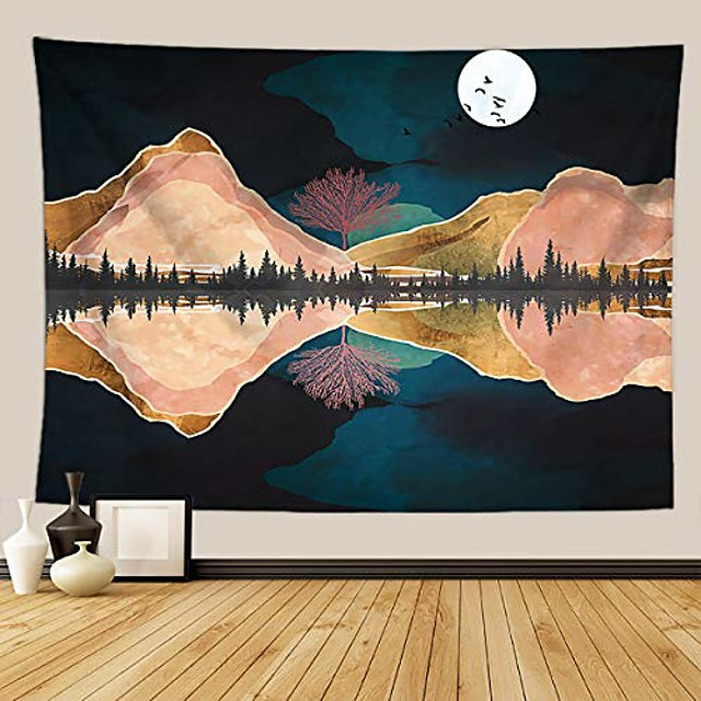 mountain tapestry lake and moon landscape tapestry night sky tapestry nature tapestry wall hanging psychedelic forest tapestry for bedroom dorm room, 51 x 59 inch