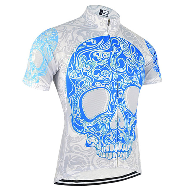 21Grams Men's Short Sleeve Cycling Jersey Sky Blue+White Bike Jersey Top Mountain Bike MTB Road Bike Cycling UV Resistant Breathable Quick Dry Sports Clothing Apparel / Stretchy
