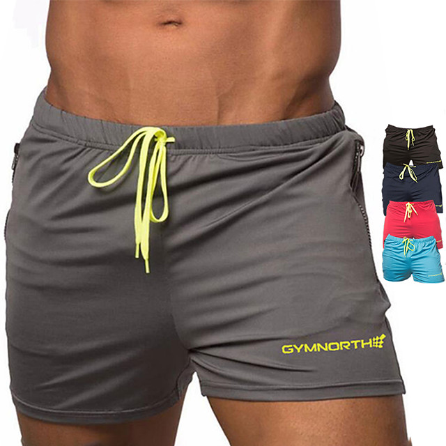 Men's Running Shorts Sports & Outdoor Bottoms Drawstring Gym Workout Running Walking Jogging Training Breathable Quick Dry Soft Sport Black Red Blue Navy Blue Gray Solid Colored Fashion
