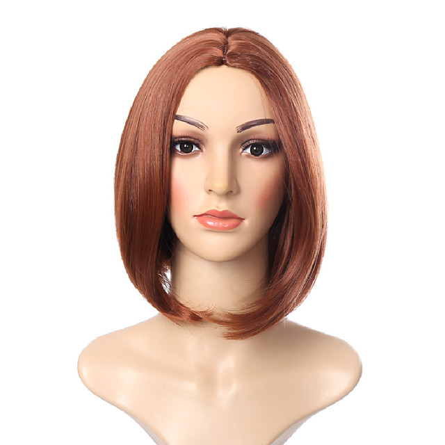 Synthetic Wig Natural Straight Middle Part Wig Short Brown Synthetic Hair 14 inch Women's Classic Exquisite Fluffy Brown