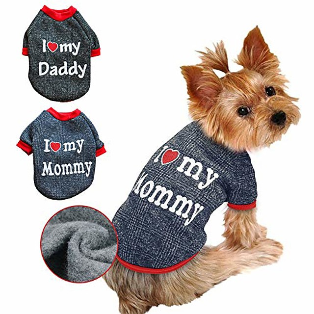 dog clothes,love dad and mom costume sweater soft warm fleece clothing winter coat for cats puppy small dogs (love mom)