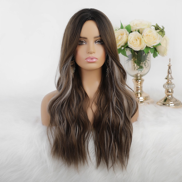 Synthetic Wig Cosplay Wig Highlighted Hair Natural Wave Silky Wavy Middle Part Wig Long Dark Brown Synthetic Hair 26 inch Women's Heat Resistant New Arrival Highlighted / Balayage Hair Brown Mixed