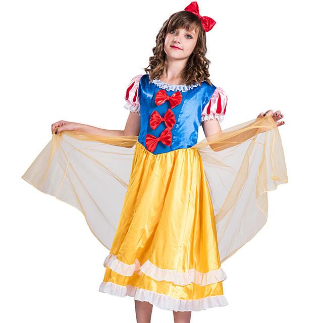 Princess Dress Masquerade Flower Girl Dress Girls' Movie Cosplay A-Line Slip Vacation Dress Blue Dress Headwear Children's Day Masquerade Polyester Organza