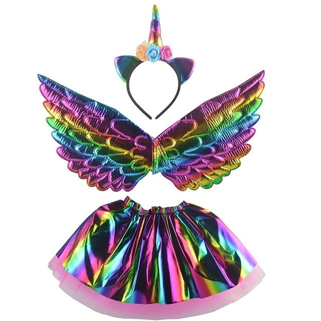Unicorn Wings Halloween Props Girls' Movie Cosplay Headpieces Stage Props Golden / Silver / Rainbow Skirts Wings Headwear Christmas Halloween Carnival Plastics