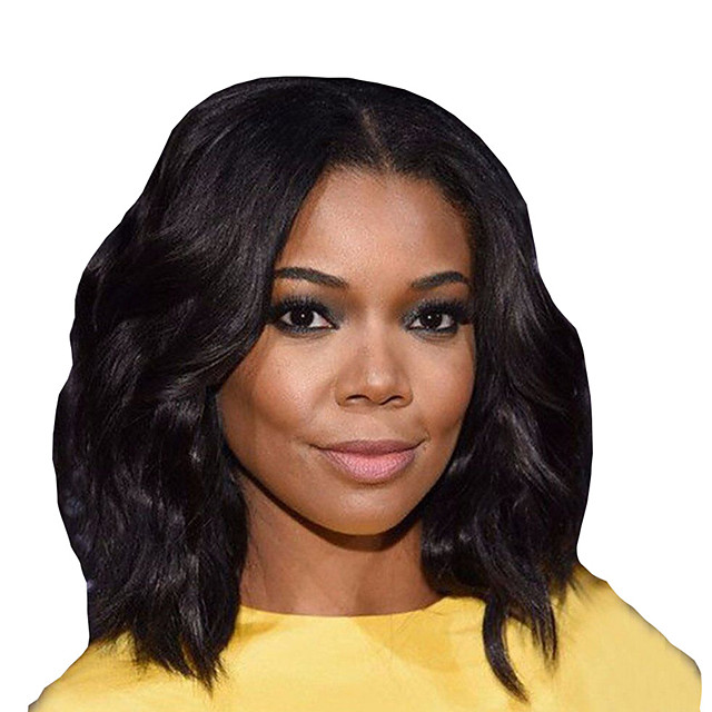 Synthetic Wig Curly Middle Part Wig Short Black Synthetic Hair Women's Comfortable Middle Part Bob Fluffy Black
