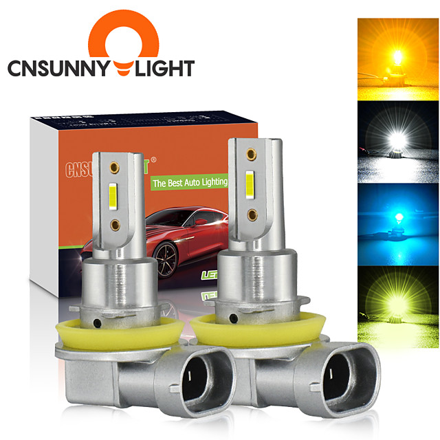 CNSUNNYLIGHT Car Fog Lights B1 2PCS  H11/H8/H9 9005/HB3 9006/HB4 LED Bulb Auto Driving DRL Lamp White/Yellow 2400Lm Plug&Play 12V 24V 4 Kinds Of Color Ray