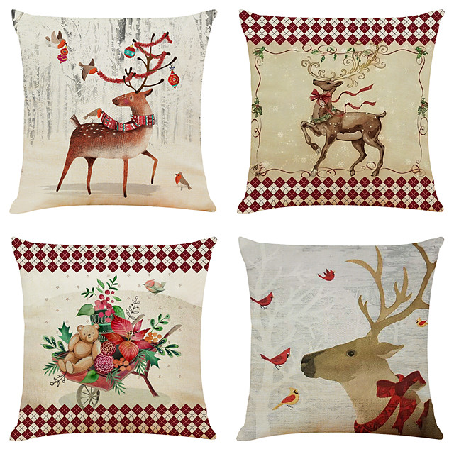 1 Set of 4 pcs Christmas Series Decorative Linen Throw Pillow Cover 18 x 18 inches 45 x 45 cm