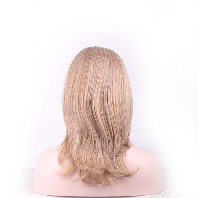 Synthetic Wig Loose Curl Asymmetrical Wig Short Light Blonde Synthetic Hair 14 inch Women's Fashionable Design Classic Easy to Carry Blonde