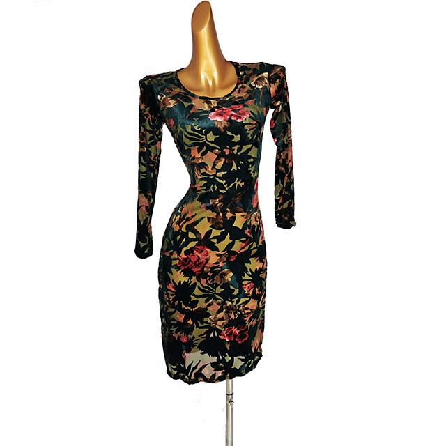 Latin Dance Dress Pattern / Print Women's Performance Long Sleeve Spandex