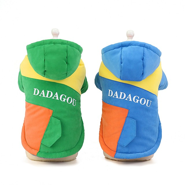Dog Cat Coat Solid Colored Casual / Daily Winter Dog Clothes Puppy Clothes Dog Outfits Blue Green Costume for Girl and Boy Dog Cotton S M L XL XXL