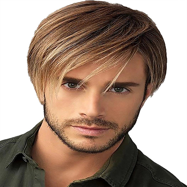 Synthetic Wig kinky Straight Asymmetrical Wig Short Dark Brown Synthetic Hair 12 inch Men's Classic Easy to Carry Cool Dark Brown