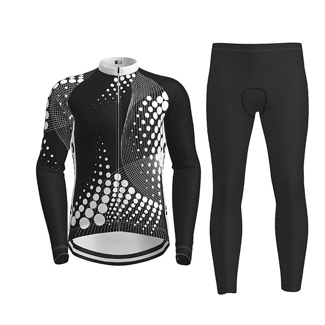 21Grams Men's Long Sleeve Cycling Jersey with Tights Black Novelty Bike Breathable Quick Dry Moisture Wicking Sports Novelty Mountain Bike MTB Road Bike Cycling Clothing Apparel / Micro-elastic