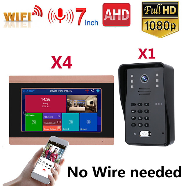 MOUNTAINONE SY710G008WF14 7 Inch Wireless WiFi Smart IP Video Door Phone Intercom System With One 1080P Wired Doorbell Camera And 4x Monitor Support Remote Unlock