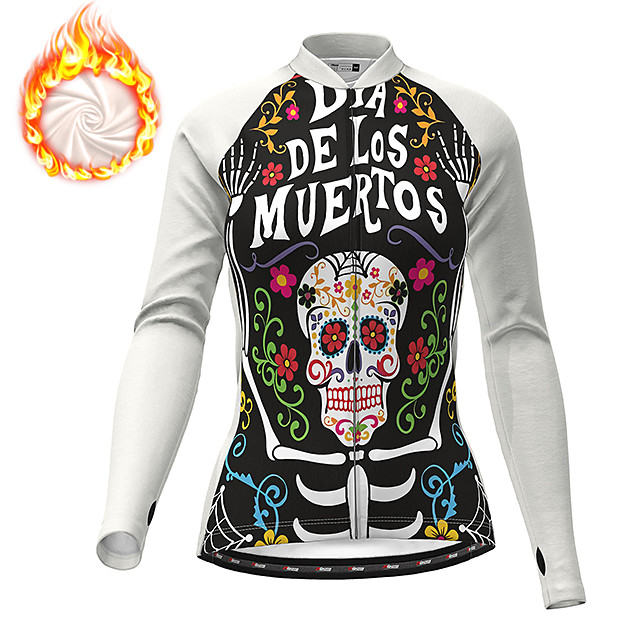 21Grams Women's Long Sleeve Cycling Jacket Winter Fleece Polyester White Purple Red Skull Floral Botanical Funny Bike Jacket Top Mountain Bike MTB Road Bike Cycling Thermal Warm Fleece Lining