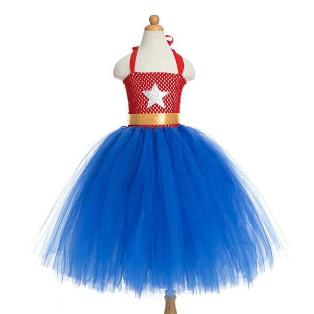 Princess Unicorn Dress Costume Girls' Movie Cosplay Plaited Vacation Dress Halloween Blue Dress Christmas Halloween Carnival Polyester / Cotton Polyester