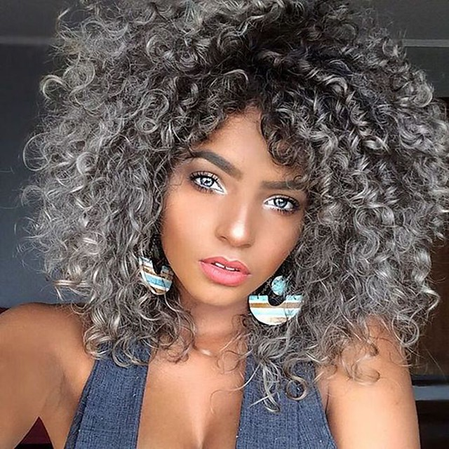 Synthetic Wig Afro Curly with Baby Hair Wig Medium Length Grey Synthetic Hair 40-44 inch Women's African American Wig Gray