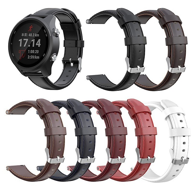 Watch Band for Vivomove / Vivomove HR / Forerunner 645 Garmin Classic Buckle Quilted PU Leather Wrist Strap
