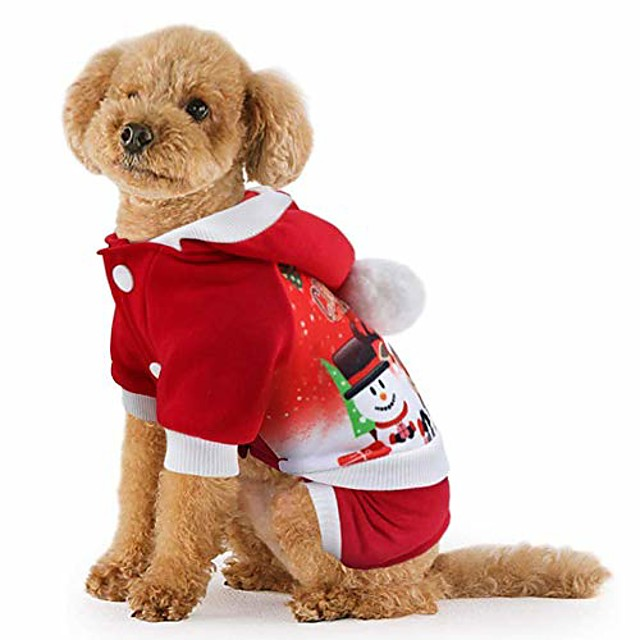 christmas dog clothes cartoon snowman doggie costume warm coral fleece pet hoodie coat outfit winter small dog four-leg jumpsuit jacket doggie pajamas puppy party dress up apparel (red)