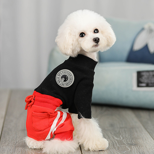 Dog Jumpsuit Color Block Casual / Sporty Fashion Casual / Daily Winter Dog Clothes Puppy Clothes Dog Outfits Breathable White Black Beige Costume for Girl and Boy Dog Cotton S M L XL XXL
