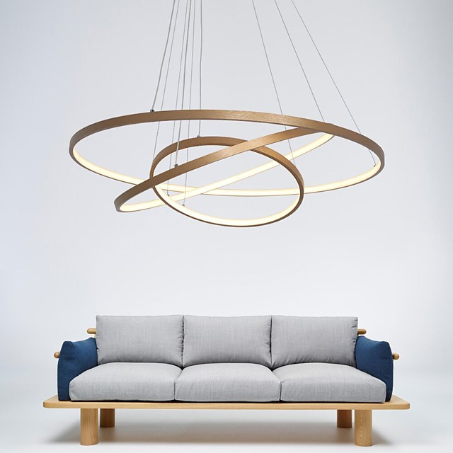 LED Gold Pendant Light 80cm/60cm/40cm 3-Light Ring Circle Matte Brushed Gold Aluminum Painted Finishes Dimmable with Remote Control