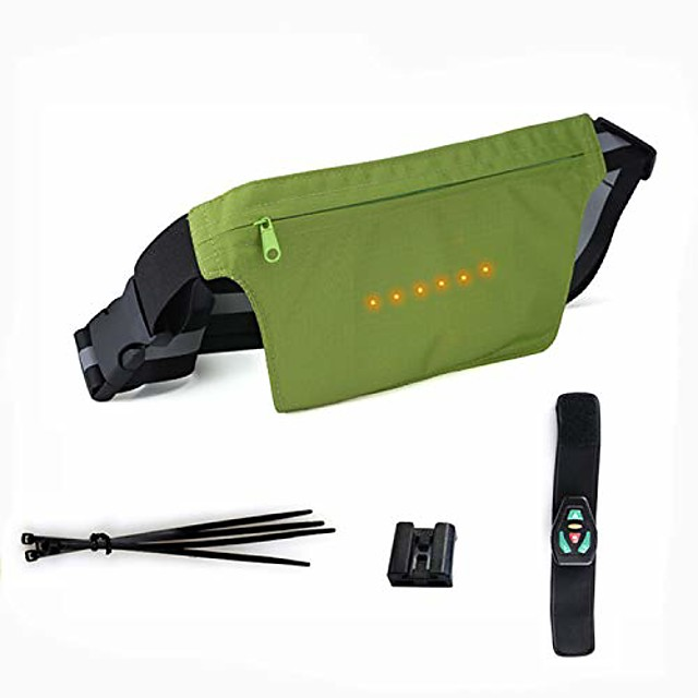 bicycle strap-on bike saddle bag/bicycle seat pack bag,led light turn bag cycling under seat wedge rear saddle pack frame front accessories (green, waist pack)