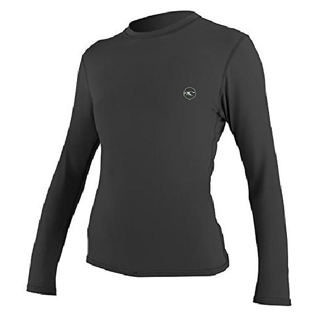 o'neill women's basic 30+ long sleeve sun shirt, black, m