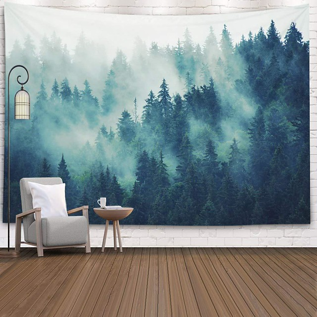 Wall Tapestry Art Decor Blanket Curtain Picnic Tablecloth Hanging Home Bedroom Living Room Dorm Decoration Polyster Forest Fog Tree Views