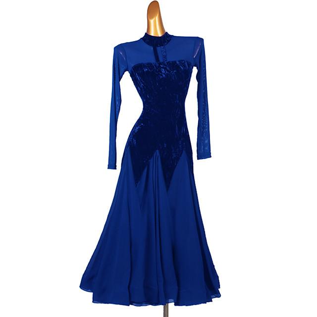 Ballroom Dance Dress Split Joint Women's Training Long Sleeve Chiffon Tulle Velvet