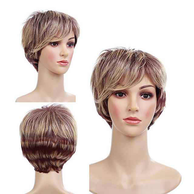 Synthetic Wig Tight Curl Pixie Cut With Bangs Wig Short Light Brown Synthetic Hair 12 inch Women's Cute Classic Color Gradient Light Brown