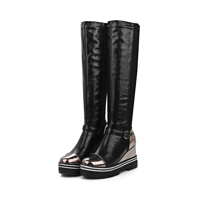 Women's Boots Riding Boots Wedge Heel Round Toe Knee High Boots Classic Daily PU Color Block Black Red Silver