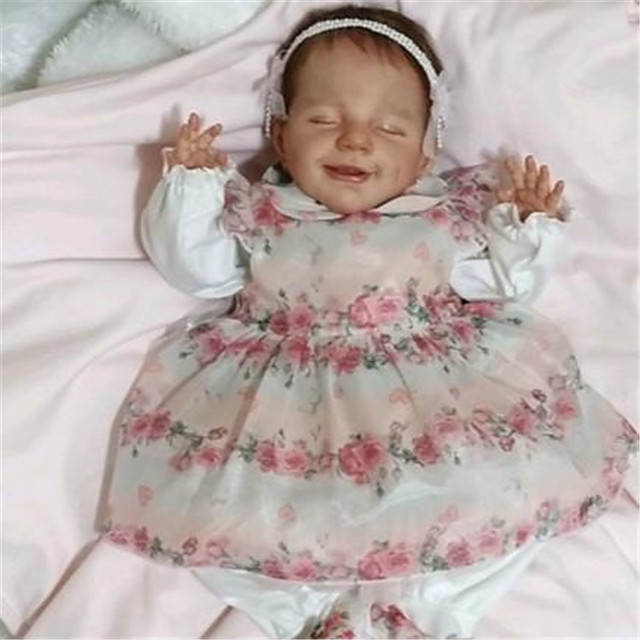 20 inch Reborn Doll Baby & Toddler Toy Reborn Baby Doll April Newborn lifelike Hand Made Simulation Floppy Head Cloth Silicone Vinyl with Clothes and Accessories for Girls' Birthday and Festival Gifts