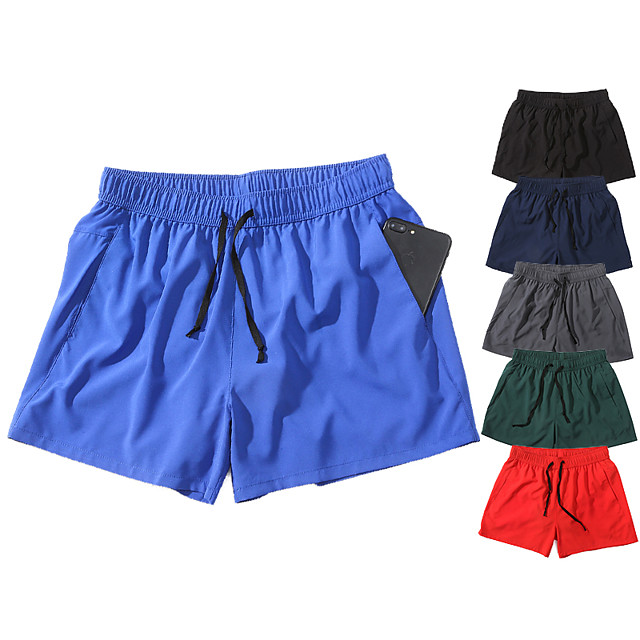 Men's Running Shorts Athleisure Bottoms Drawstring Summer Fitness Gym Workout Running Jogging Training Breathable Quick Dry Soft Sport Black Blue Red Dark Green Navy Blue Gray Solid Colored Fashion
