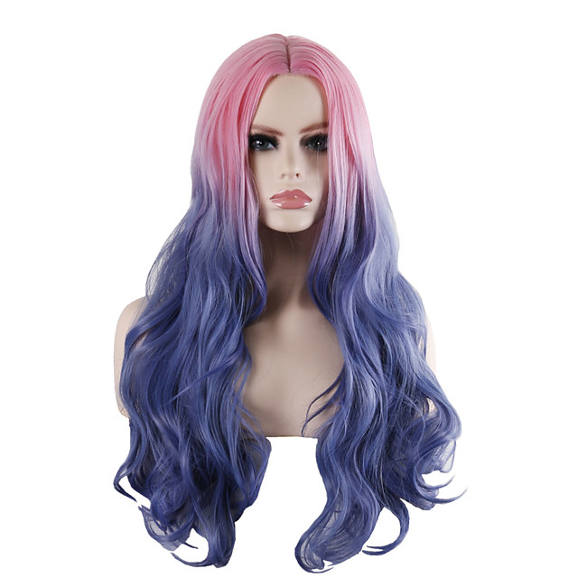 Synthetic Wig Tight Curl Loose Curl Middle Part Wig Long Pink / Grey Synthetic Hair 28 inch Women's Fashionable Design Party Exquisite Blue Pink