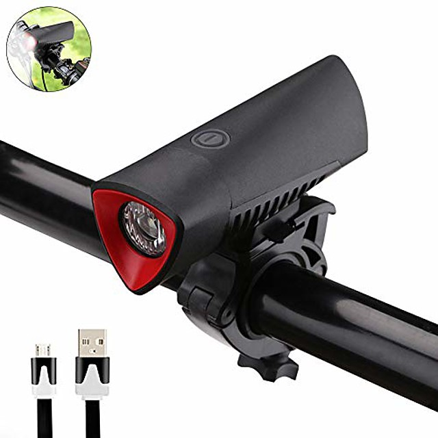 bicycle front light led 4 modes super bright usb rechargeable bike headlight led waterproof cycling flashlight lamp torch (black)
