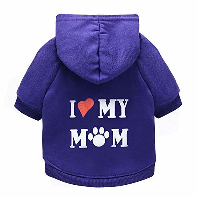 puppy hoodie sweater dog coat warm sweatshirt love my mom printed shirt (m, purple)