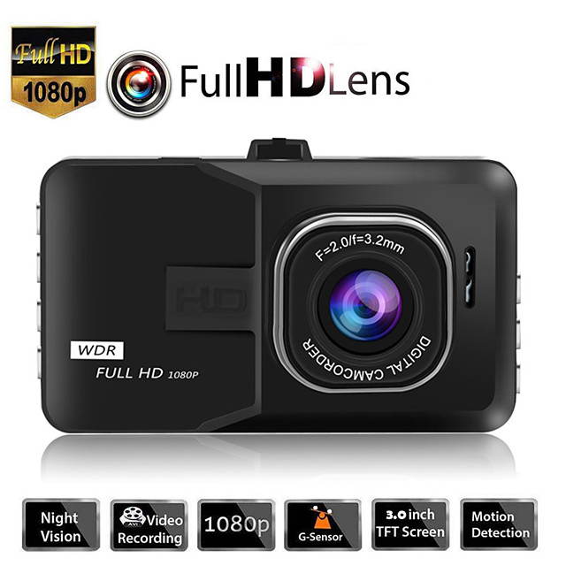 1080p New Design / Boot automatic recording Car DVR 170 Degree Wide Angle 3 inch TFT / LTPS / LCD Dash Cam with Night Vision / G-Sensor / Loop recording Car Recorder
