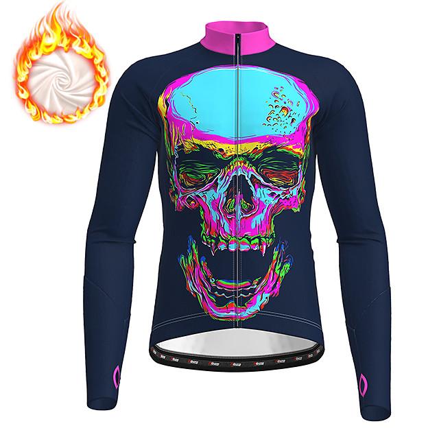 21Grams Men's Long Sleeve Cycling Jacket Winter Fleece Polyester Black Gradient Skull Funny Bike Jacket Top Mountain Bike MTB Road Bike Cycling Thermal Warm Fleece Lining Breathable Sports Clothing