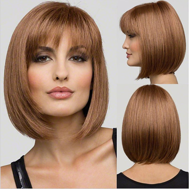 Synthetic Wig Straight With Bangs Wig Short Dark Brown Synthetic Hair Women's Fashionable Design Cute Classic Dark Brown