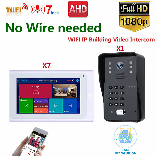 MOUNTAINONE SY706W008WF11 7 Inch Wireless WiFi Smart IP Video Door Phone Intercom System With One 1080P Wired Doorbell Camera And 7x Monitor Support Remote Unlock