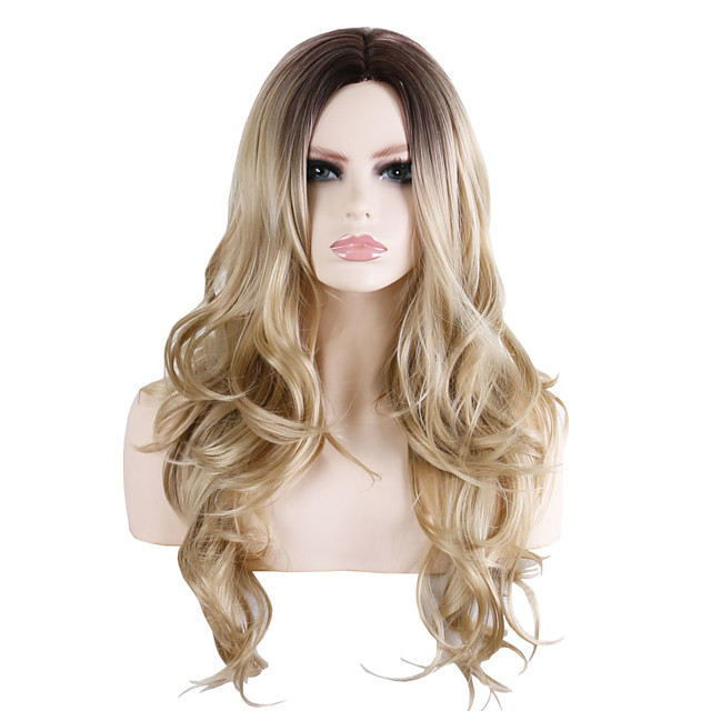 Synthetic Wig Wavy Loose Curl Middle Part Wig Long Brown / Burgundy Synthetic Hair 28 inch Women's Fashionable Design Party Exquisite Brown